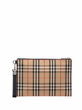 Burberry checked cotton pouch bag - Nude von Burberry